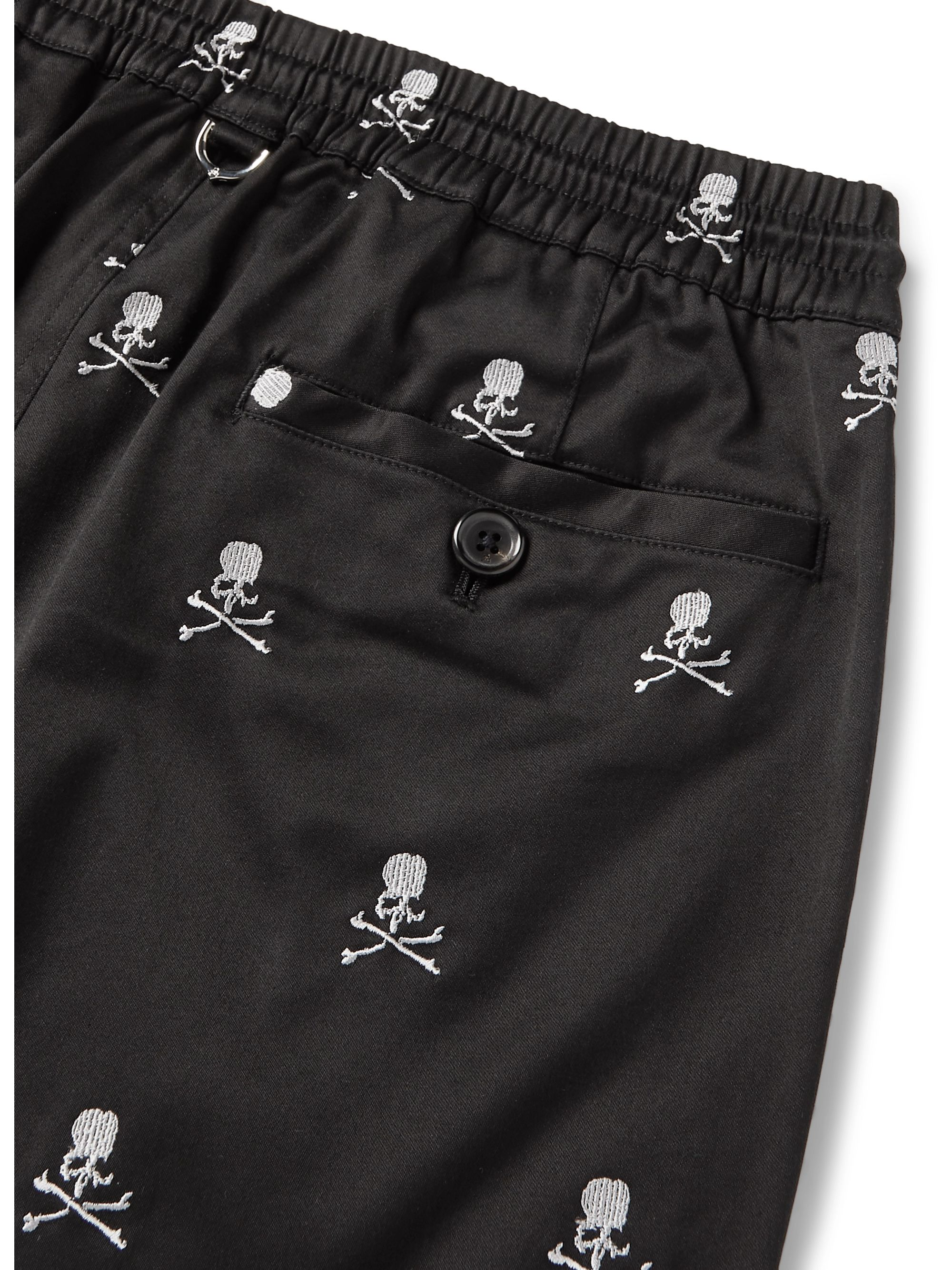MASTERMIND WORLD Slim-Fit Logo-Embroidered Cotton-Blend Twill Drawstring Trousers