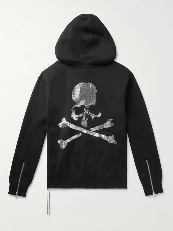 MASTERMIND WORLD Sequin-Embellished Loopback Cotton-Jersey Zip-Up Hoodie