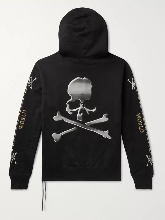 MASTERMIND WORLD Printed Loopback Cotton-Jersey Hoodie