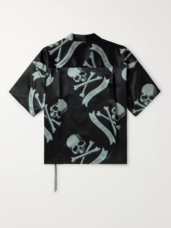 MASTERMIND WORLD Camp-Collar Logo-Print Silk Shirt
