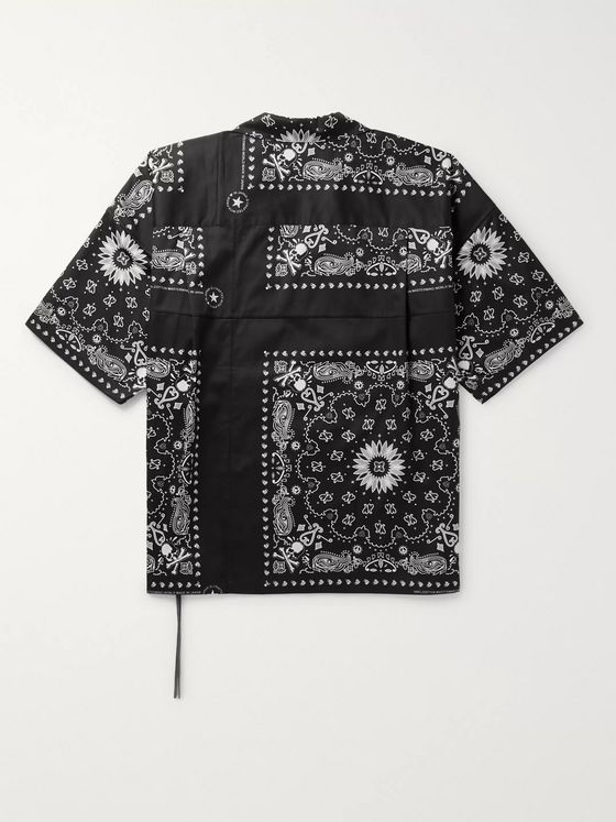 MASTERMIND WORLD Oversized Camp-Collar Patchwork Bandana-Print Cotton-Twill Shirt
