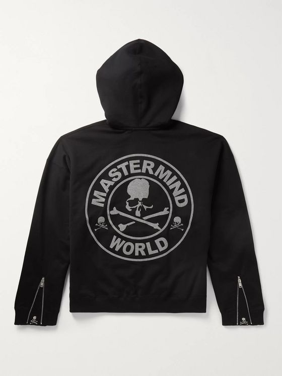 MASTERMIND WORLD Logo-Embellished Loopback Cotton-Jersey Zip-Up Hoodie
