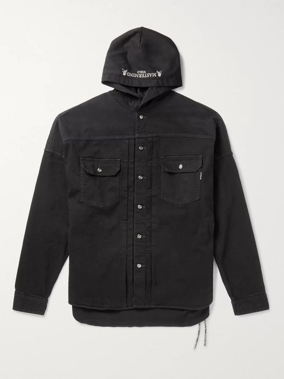 MASTERMIND WORLD Logo-Embroidered Denim and Jersey Hooded Jacket