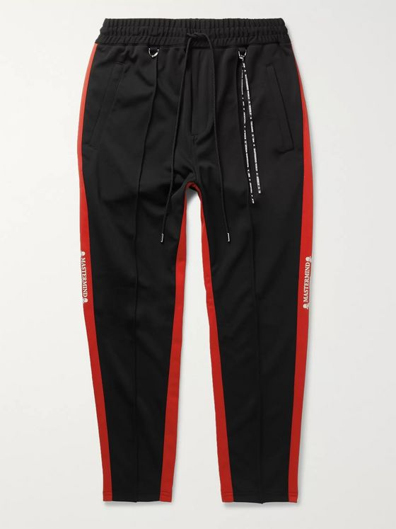 MASTERMIND WORLD Slim-Fit Tapered Striped Printed Tech-Jersey Track Pants