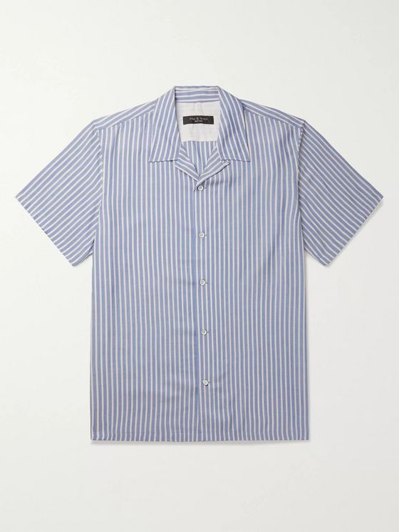 rag & bone Avery Camp-Collar Striped Voile Shirt