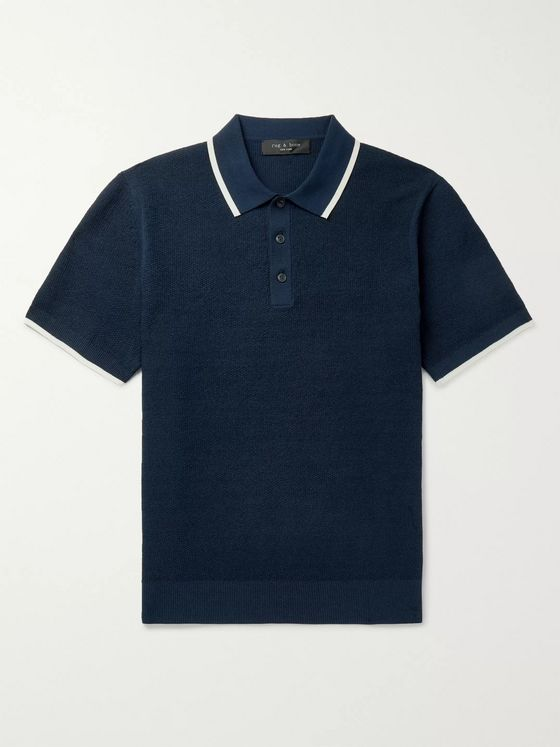 rag & bone Edmond Contrast-Tipped Cotton-Blend Polo Shirt