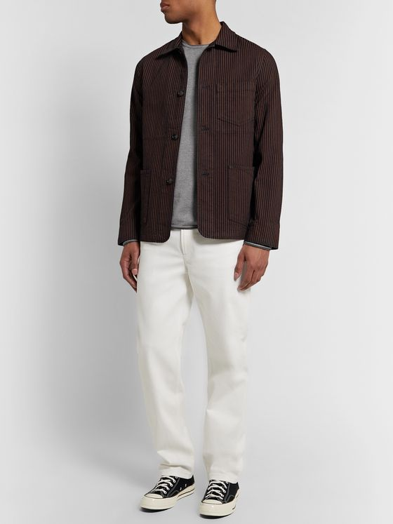 rag & bone Trent Contrast-Tipped Merino Wool, Cotton and Linen-Blend Sweater