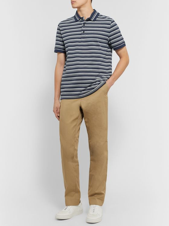 A.P.C. Esteban Striped Cotton-Piqué Polo Shirt