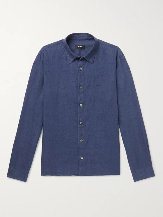 A.P.C. Vincent Logo-Embroidered Linen Shirt