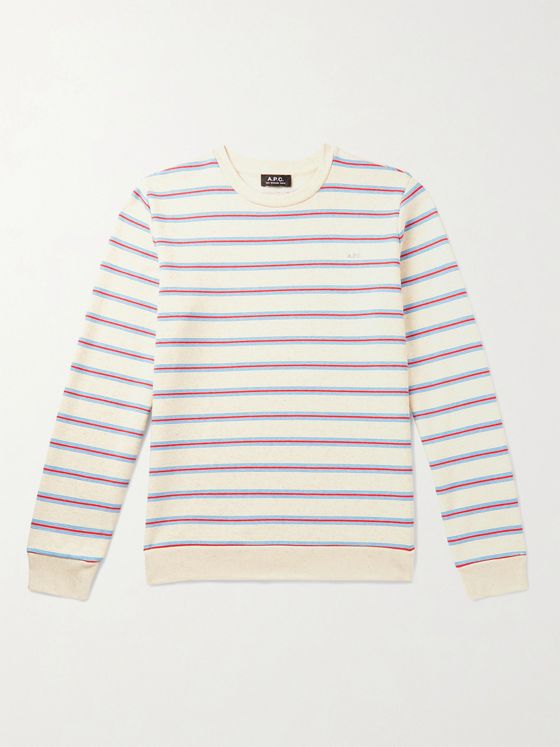A.P.C. Logo-Print Striped Loopback Cotton-Jersey Sweatshirt