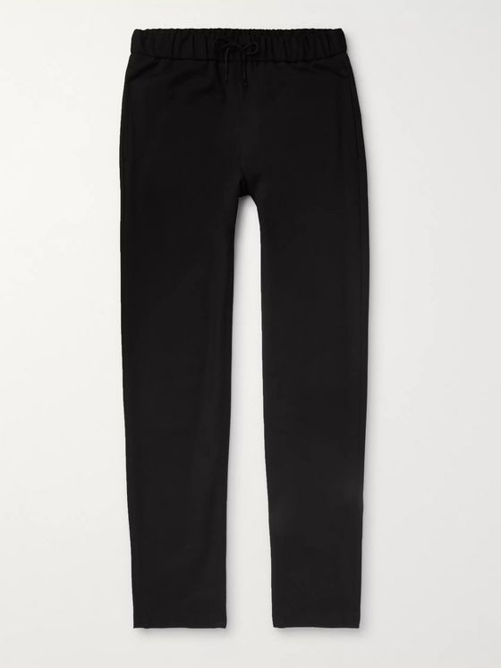 A.P.C. Black Kaplan Cotton and Wool-Blend Drawstring Trousers