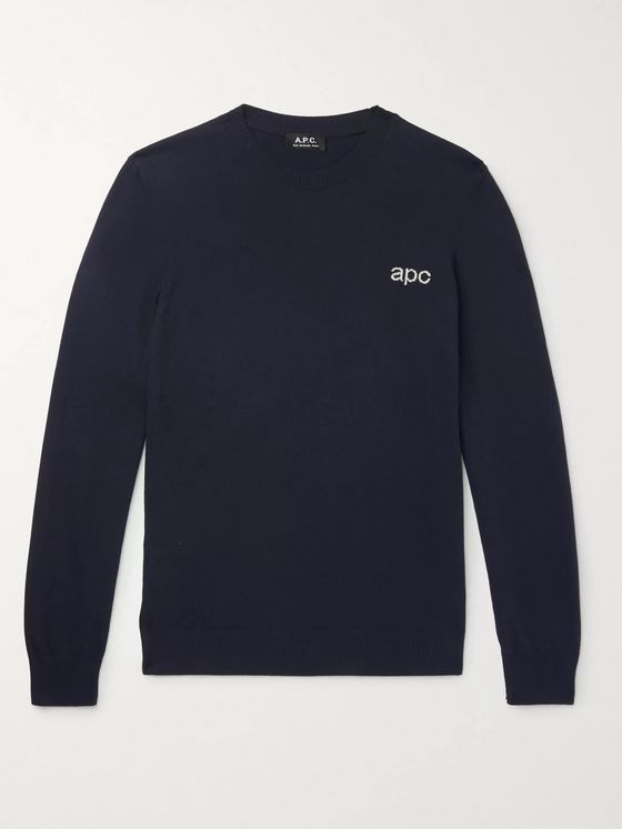 A.P.C. Logo-Intarsia Cotton Sweater