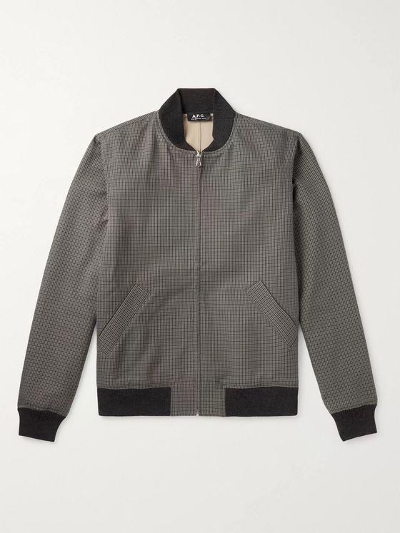 A.P.C. Gaston Checked Cotton Bomber Jacket