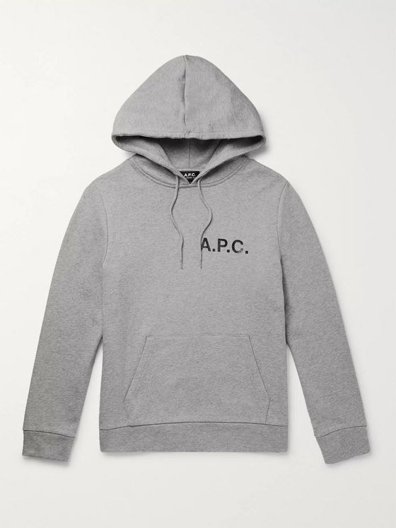 A.P.C. Logo-Print Mélange Loopback Cotton-Jersey Hoodie