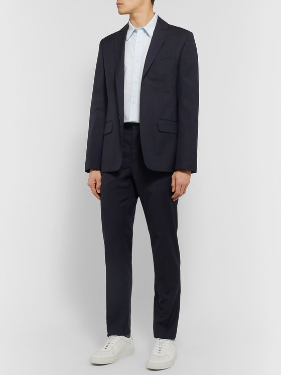 A.P.C. Navy Truman Slim-Fit Herringbone Virgin Wool Blazer