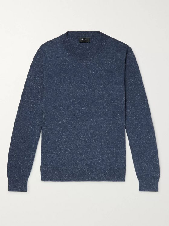 A.P.C. Hiroshi Mélange Cotton, Wool and Silk-Blend Sweater