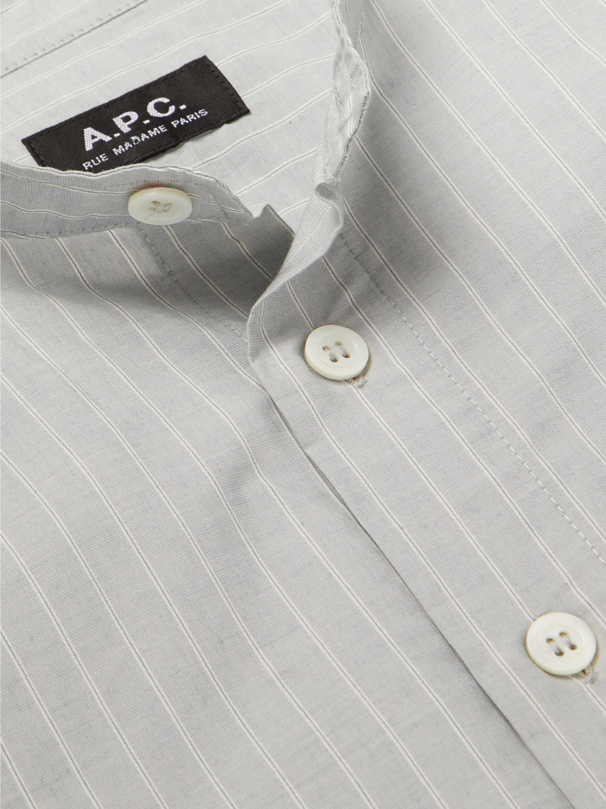 A.P.C. Alejandro Grandad-Collar Striped Cotton Shirt