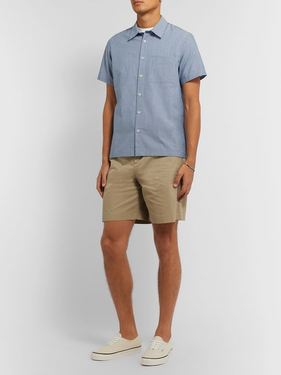 A.P.C. Wide-Leg Pleated Cotton-Blend Gabardine Shorts