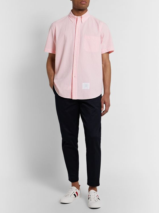 Thom Browne Button-Down Collar Striped Cotton-Seersucker Shirt