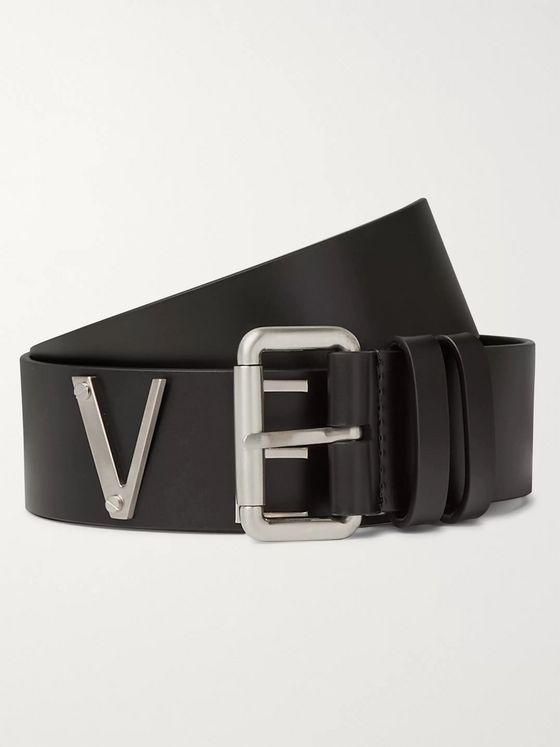 Versace Logo-Detailed Leather and Silver-Tone Belt