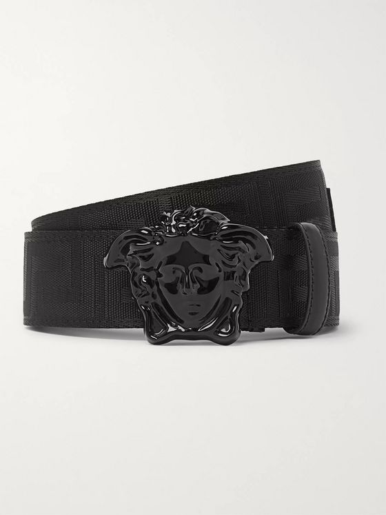 Versace 4cm Leather and Logo-Jacquard Webbing Belt
