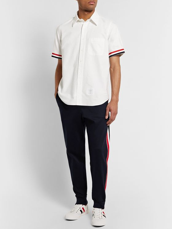 Thom Browne Tapered Striped Jacquard-Trimmed Cotton-Jersey Sweatpants