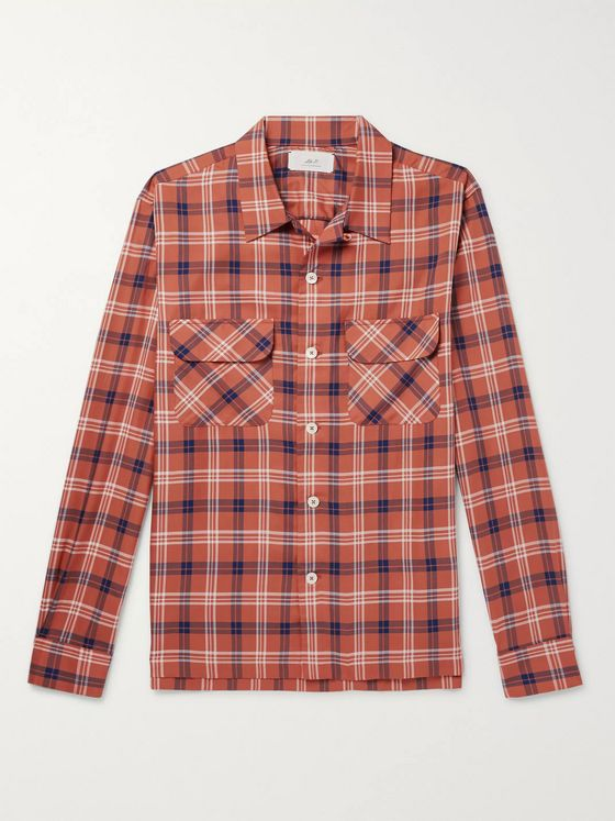 MR P. Camp-Collar Checked Tencel Shirt