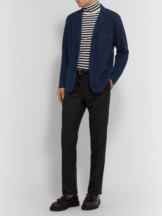 Mr P. Navy Unstructured Textured-Knit Virgin Wool and Cotton-Blend Blazer
