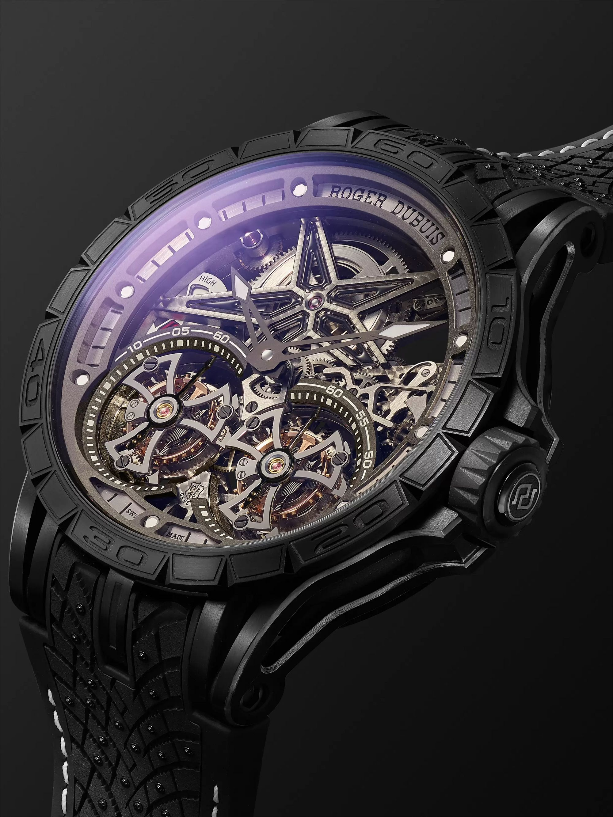 Roger Dubuis Excalibur Pirelli ICE ZERO 2 One-of-a-Kind Hand-Wound Skeleton Double Flying Tourbillon 47mm Titanium and Rubber Watch, Ref.