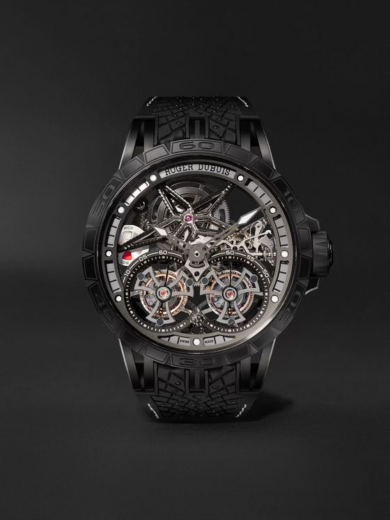 Roger Dubuis Excalibur Pirelli ICE ZERO 2 One-of-a-Kind Hand-Wound Skeleton Double Flying Tourbillon 47mm Titanium and Rubber Watch, Ref. No. RDDBEX0825