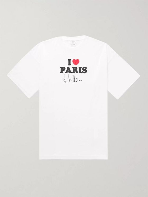 Vetements I Love Paris Hilton Oversized Cotton-Jersey T-Shirt