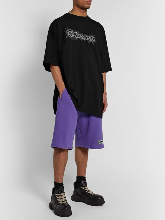 Vetements Logo-Detailed Loopback Cotton-Blend Jersey Shorts