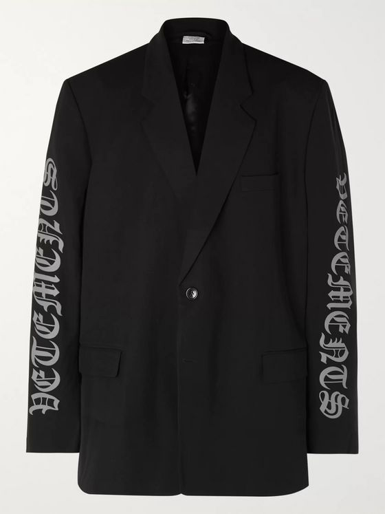 Vetements Oversized Logo-Print Woven Blazer