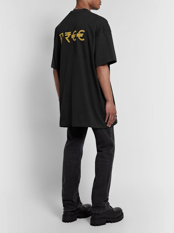 Vetements Oversized Embroidered Printed Cotton-Jersey T-Shirt