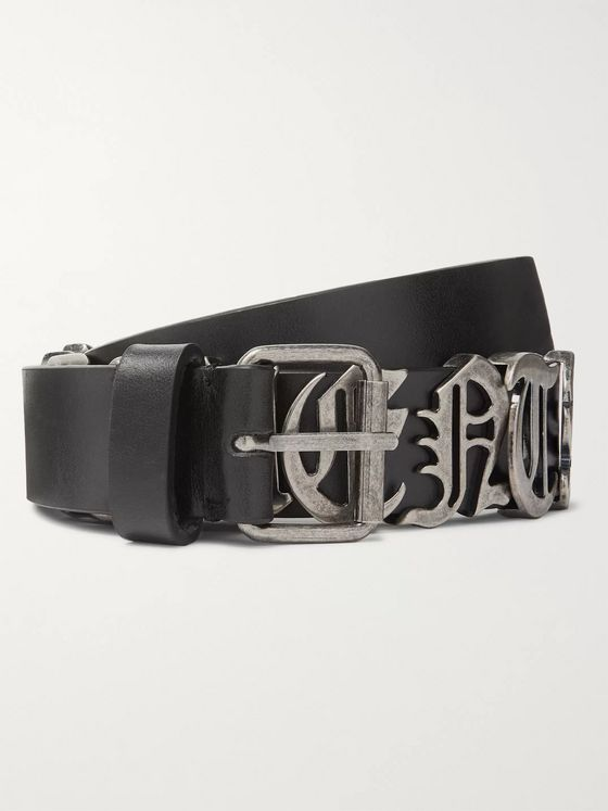 Vetements 3cm Black Logo-Embellished Leather Belt