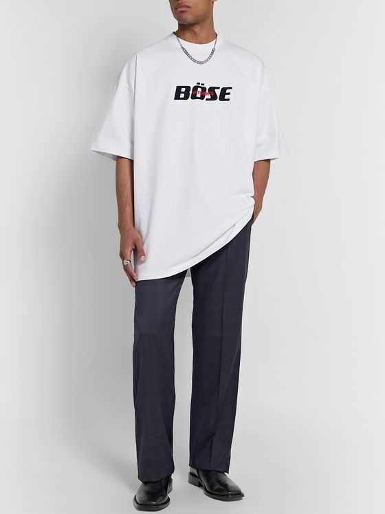 Vetements Oversized Logo-Embroidered Printed Cotton-Jersey T-Shirt