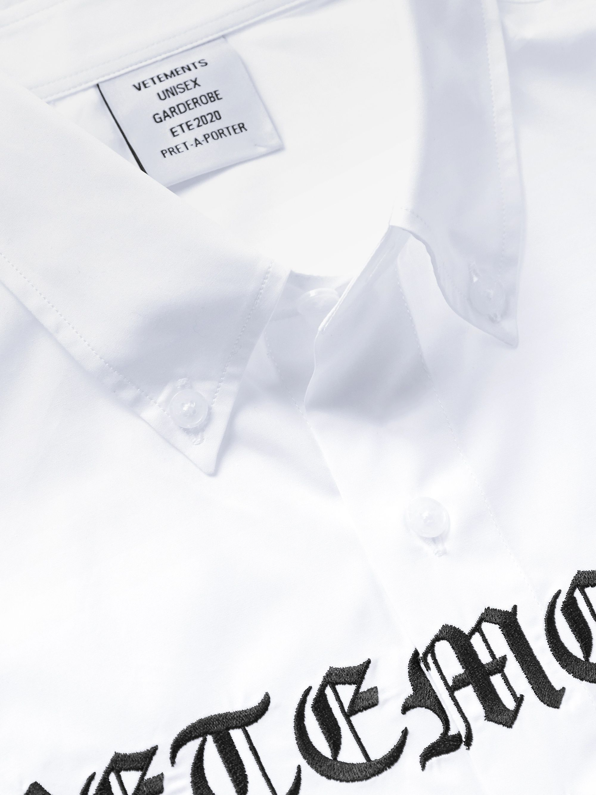 Vetements Oversized Button-Down Collar Logo-Embroidered Cotton-Poplin Shirt