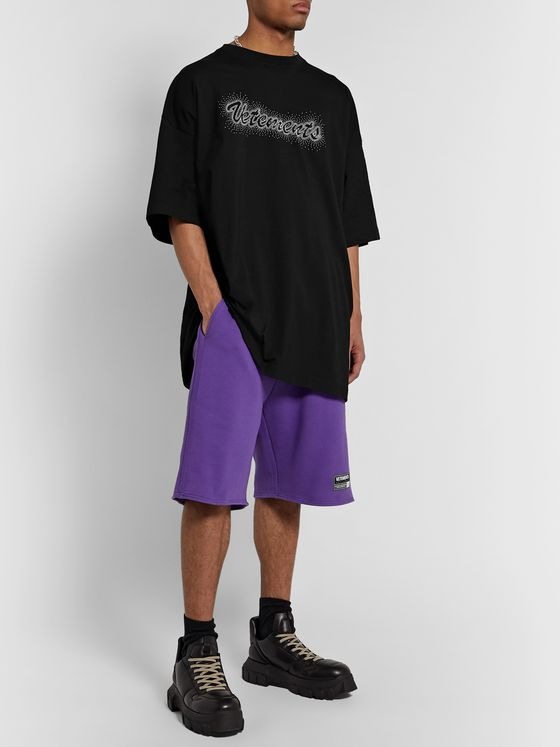Vetements Bling Bling Oversized Logo-Studded Cotton-Jersey T-Shirt