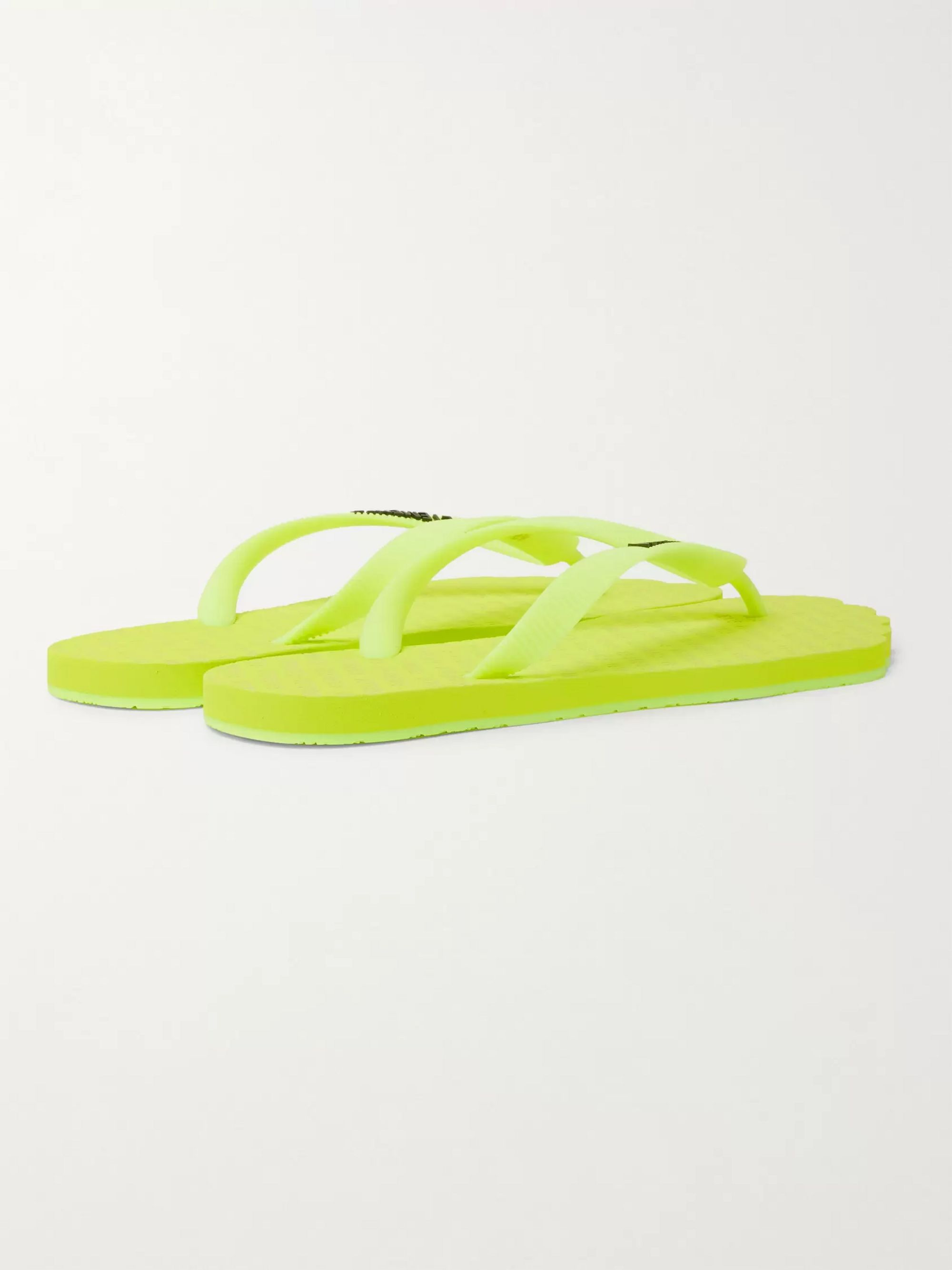 Vetements Anatomic Logo-Print Neon Rubber Flip Flops