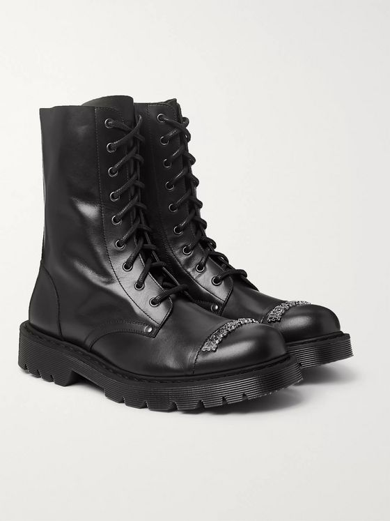 Vetements Logo-Detailed Leather Boots