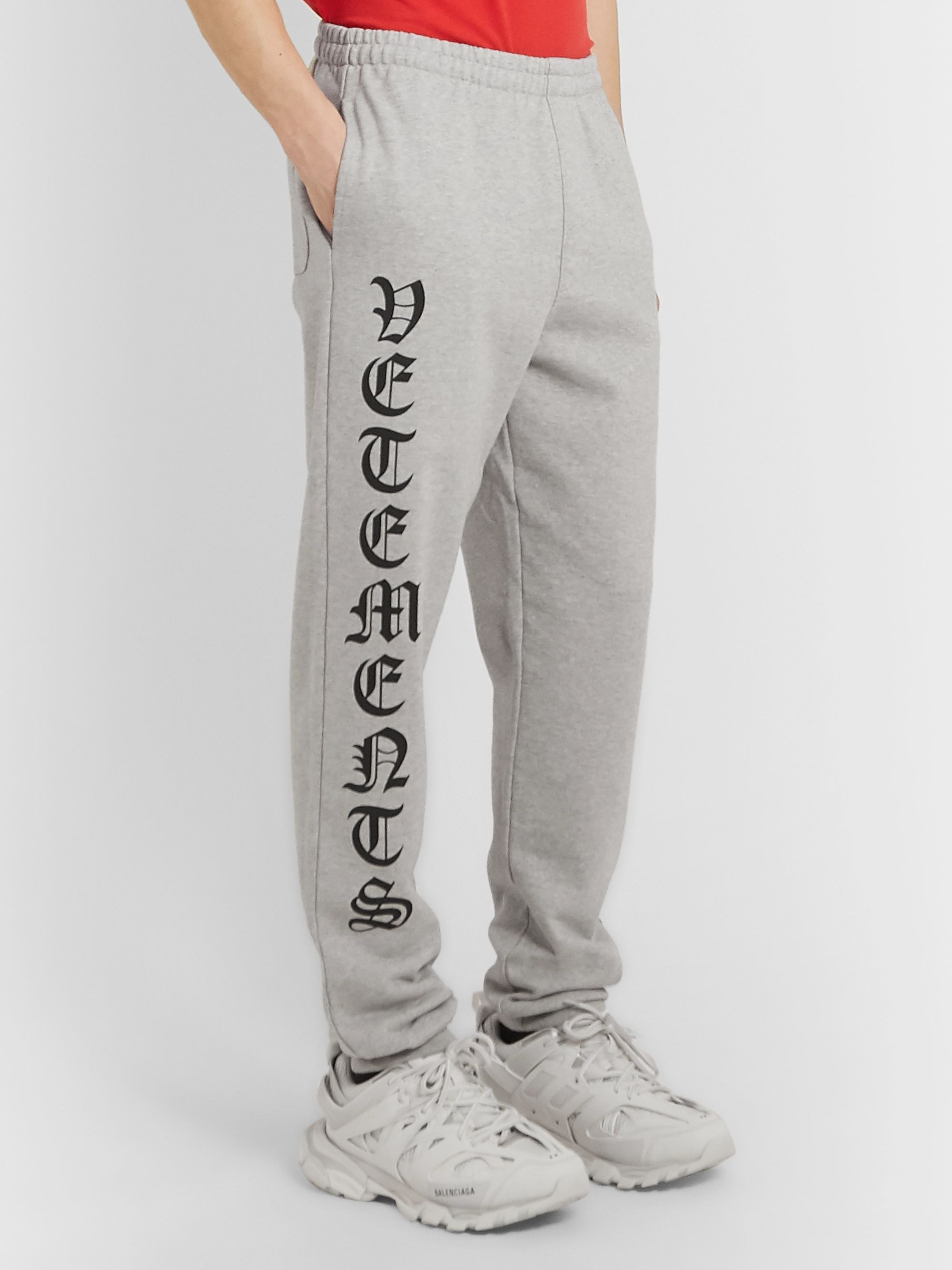 Vetements Tapered Logo-Print Loopback Cotton-Jersey Sweatpants