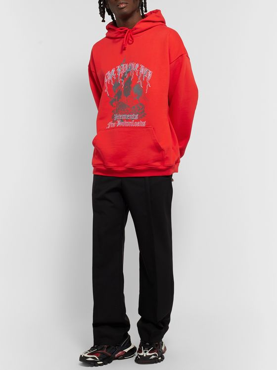 Vetements Oversized Printed Loopback Cotton-Blend Jersey Hoodie