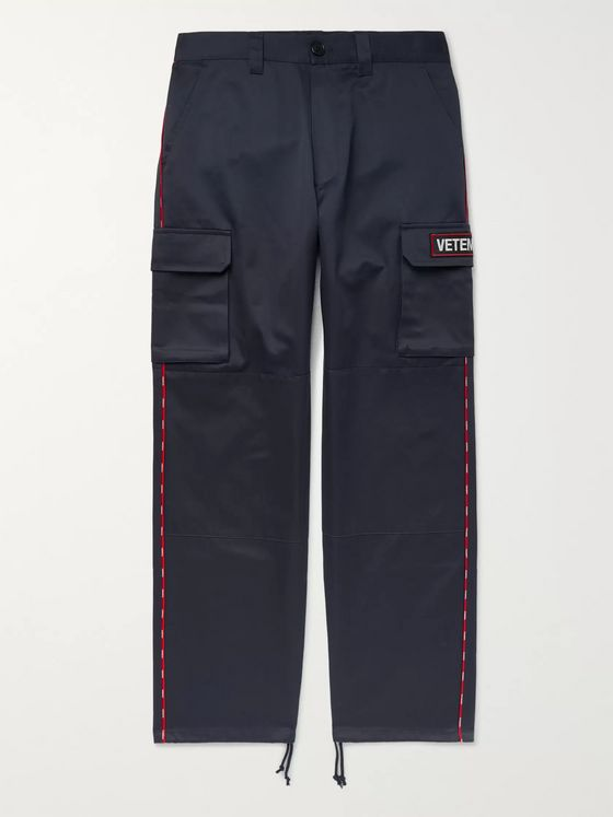 Vetements Logo-Appliquéd Cotton-Twill Cargo Trousers