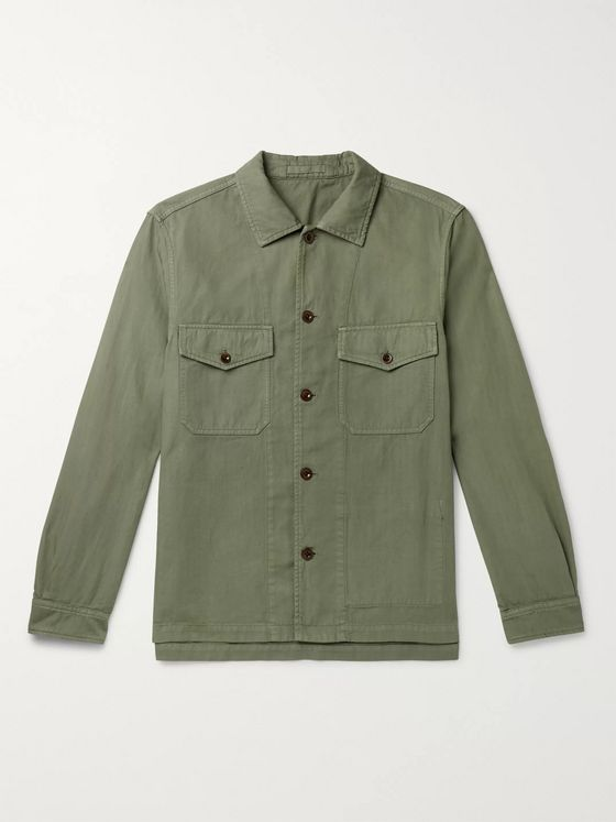 Mr P. Garment-Dyed Herringbone Cotton and Linen-Blend Overshirt