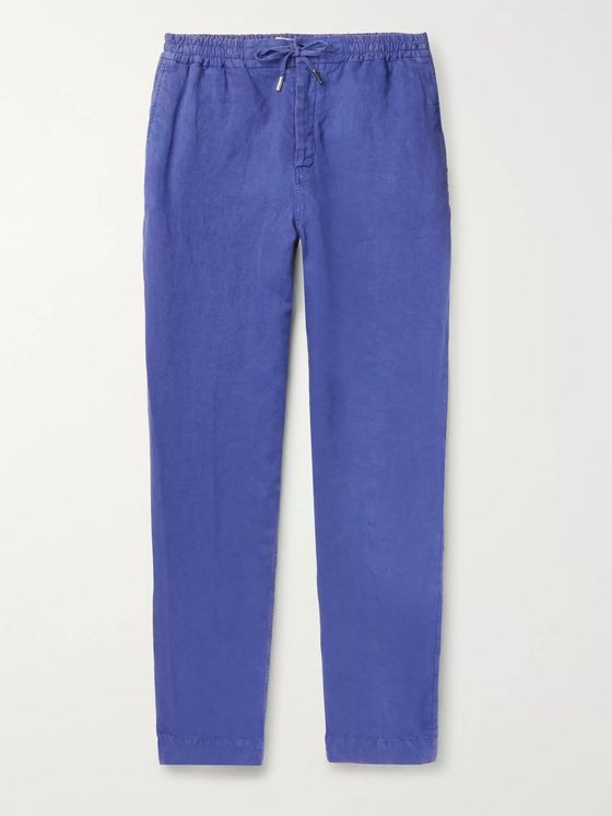 Mr P. Tapered Garment-Dyed Linen Drawstring Trousers
