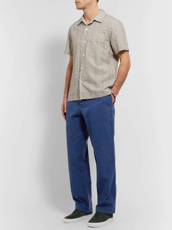 Mr P. Herringbone Cotton and Linen-Blend Chinos