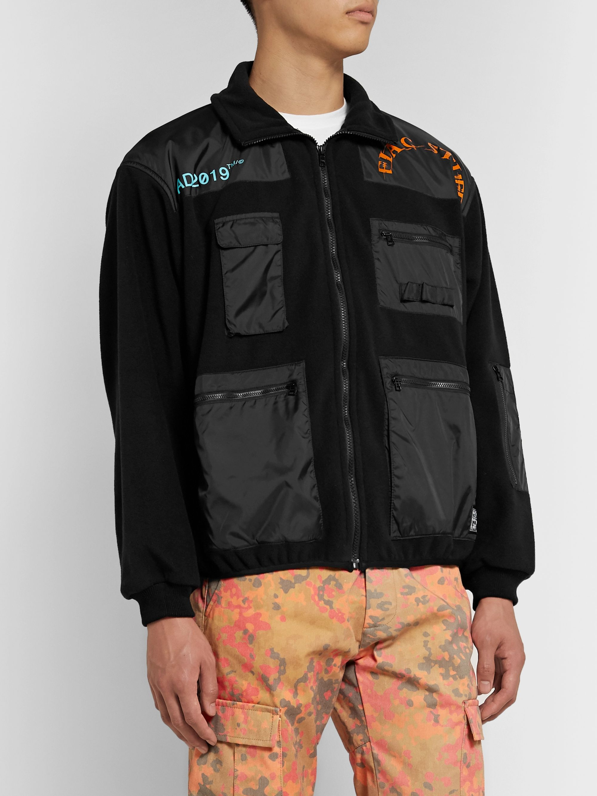 Flagstuff Logo-Print Shell-Panelled Fleece Jacket