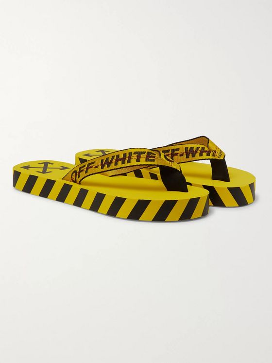 Off-White Webbing and Rubber Flip Flops