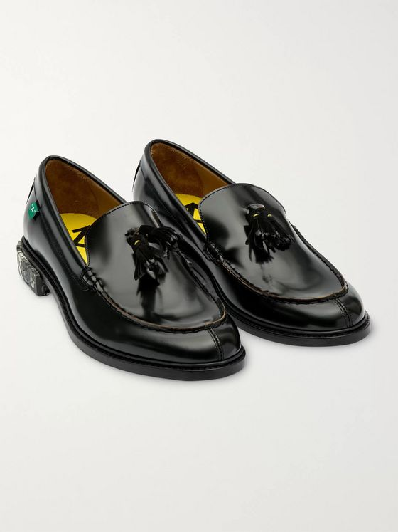 Off-White Polished-Leather Tasselled Loafers