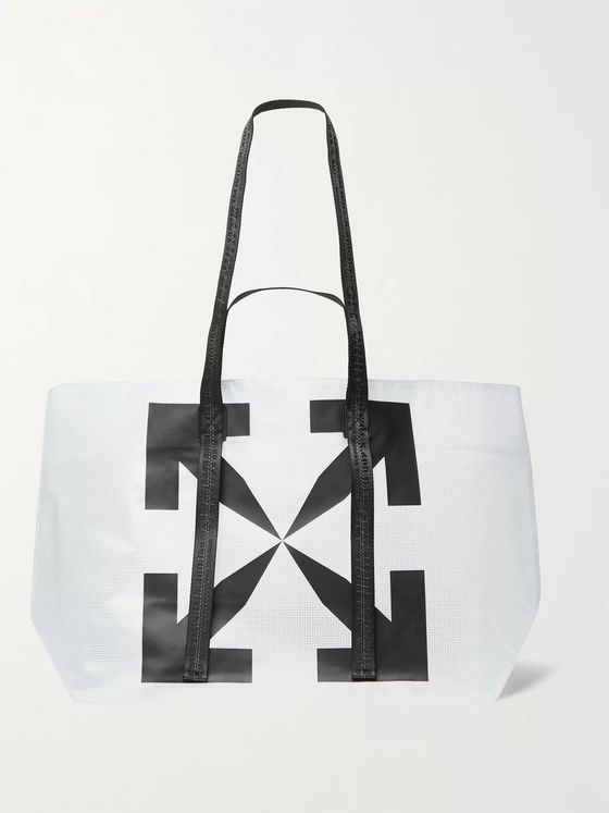 Off-White Arrow Tyvek Logo-Print Mesh Tote Bag